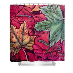 Shower Curtain featuring the painting Falling Leaves Two Painting by Kimberlee Baxter