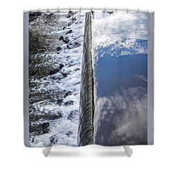 Tankerhoosen Lake And Dam Waterfall In Vernon Connecticut Shower Curtain by Phil Cardamone
