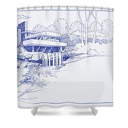 Fallingwater Blueprint Shower Curtain