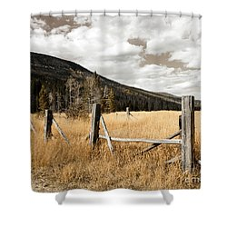 Shower Curtain featuring the photograph Fallowfield Weathered Fence Rocky Mountain National Park Dramatic Sky by John Stephens
