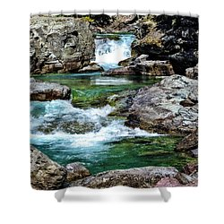 Falls Above Lake Mc Donald Shower Curtain