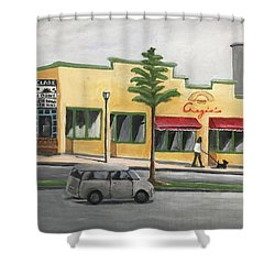 Shower Curtain featuring the painting Falls Church by Victoria Lakes