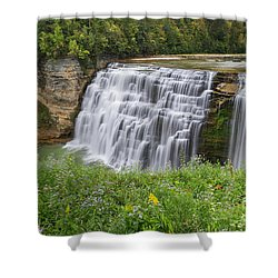 Autumn Flower Of Letchworth Middle Falls Shower Curtain