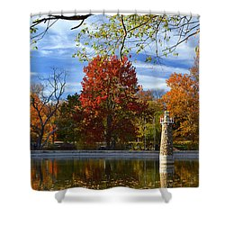 Falls Park Pond Lighthouse Shower Curtain