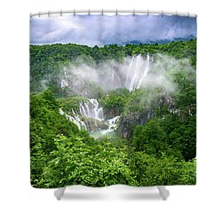 Falls Through The Fog - Plitvice Lakes National Park Croatia Shower Curtain