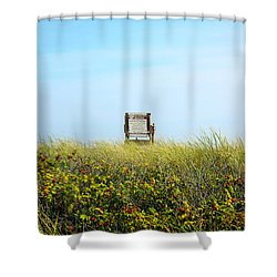 Shower Curtain featuring the photograph Falmouth Beach Open 9-5 by Madeline Ellis