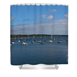 Falmouth Harbour Shower Curtain by Brian Roscorla