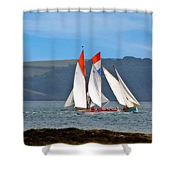 Falmouth Reggatta  Shower Curtain by Brian Roscorla