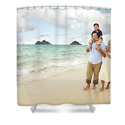 Family At Lanikai I Shower Curtain by Brandon Tabiolo - Printscapes