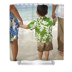 Family At Lanikai II Shower Curtain by Brandon Tabiolo - Printscapes