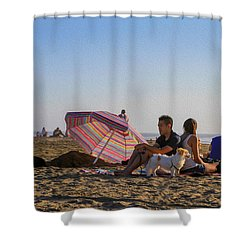 Family At Ocean Beach With Dogs Shower Curtain