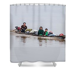 Family Boat On The Amazon Shower Curtain