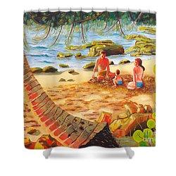 Family Day At Jobos Beach Shower Curtain by Milagros Palmieri
