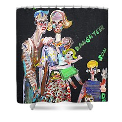 Shower Curtain featuring the painting Family Day by Fabrizio Cassetta