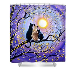 Family Moon Gazing Night Shower Curtain by Laura Iverson