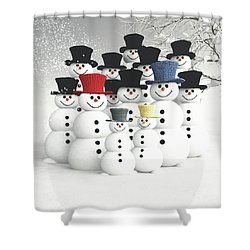 Family Of Snowmen Shower Curtain