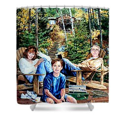 Family On The Dock Shower Curtain by Hanne Lore Koehler