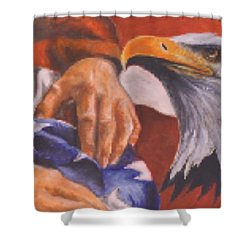 Family Receives Flag Shower Curtain