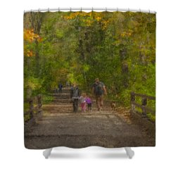 Family Walk At Borderland Shower Curtain