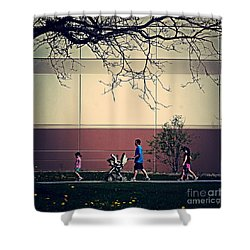 Family Walk To The Park Shower Curtain