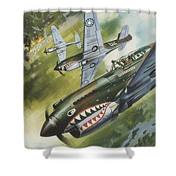 Famous Aircraft And Their Pilots Shower Curtain by Wilf Hardy