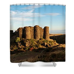 Famous Amberd Fortress With Mount Ararat At Back, Armenia Shower Curtain