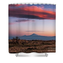 Famous Ararat Mountain During Beautiful Sunset As Seen From Armenia Shower Curtain