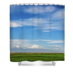 Famous Ararat Mountain Under Beautiful Clouds As Seen From Armenia Shower Curtain