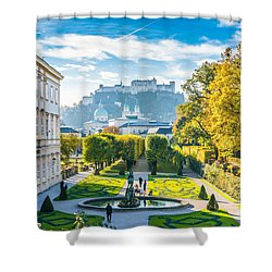 Famous Mirabell Gardens With Historic Fortress In Salzburg, Aust Shower Curtain