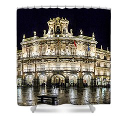 Famous Plaza Mayor In Salamanca At Night Shower Curtain