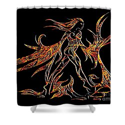 Shower Curtain featuring the drawing Fancy Flight On Fire by Jamie Lynn