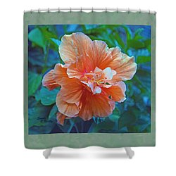 Fancy Peach Hibiscus Shower Curtain