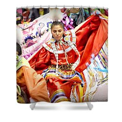 Fancy Shawl Dancers Shower Curtain by Clarice Lakota