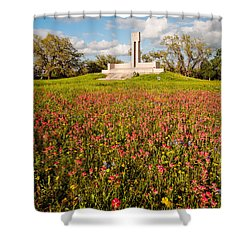 Fannin Monument And Memorial With Wildflowers In Goliad - Coastal Bend South Texas Shower Curtain