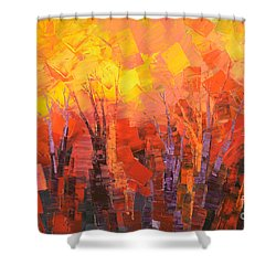 Shower Curtain featuring the painting Fantastic Fire by Tatiana Iliina
