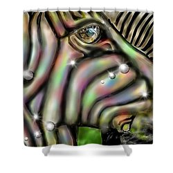 Shower Curtain featuring the digital art Fantastic Zebra by Darren Cannell