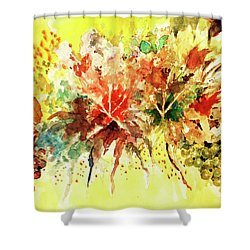 Shower Curtain featuring the painting Fantasy Floral With Pot And Fruit by Al Brown