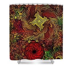 Fantasy Flowers Woodcut Shower Curtain by David Lane