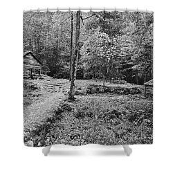 Fantasy Forest In Black And White Shower Curtain by DigiArt Diaries by Vicky B Fuller