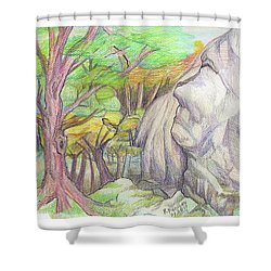 Fantasy Forest Rock Shower Curtain by Ruth Renshaw