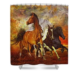 Shower Curtain featuring the painting Fantasy Horse Visions by Steve Roberts