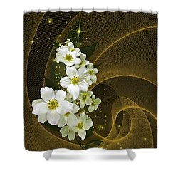 Fantasy In Gold And White Shower Curtain by Judy  Johnson