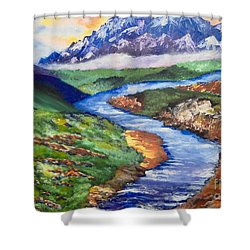 Shower Curtain featuring the painting Fantasy by Saundra Johnson