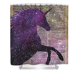Fantasy Unicorn In The Space Shower Curtain by Jacob Kuch