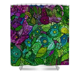 Fantasy Zen Flowers In Alcohol Ink Shower Curtain