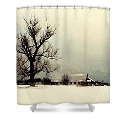 Shower Curtain featuring the photograph Far From Home - Winter Barn by Janine Riley