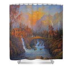 Farewell To Rivendell The Passing Of The Elves Shower Curtain by Joe  Gilronan