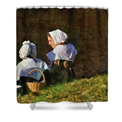 Farm - Farmer - The Young Maidens Shower Curtain by Mike Savad