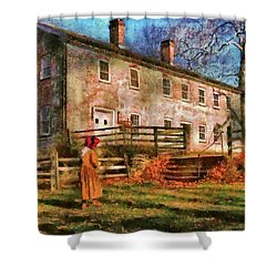 Farm - Farmer - There Was An Old Lady Shower Curtain by Mike Savad