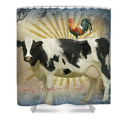 Shower Curtain featuring the painting Farm Fresh Barnyard Animals Cow Rooster Typography by Audrey Jeanne Roberts